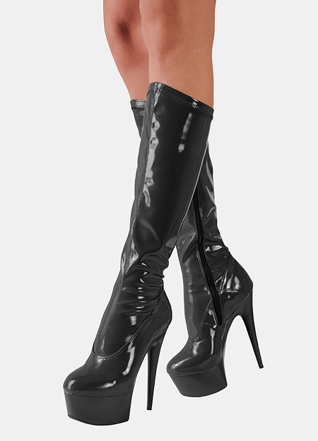 Knee-High Lak Støvle - Cottelli High Heels
