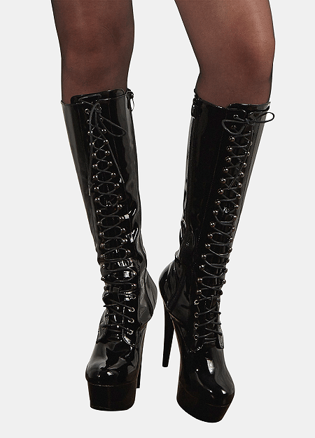 Knee-High Snøre Støvle - Cottelli High Heels